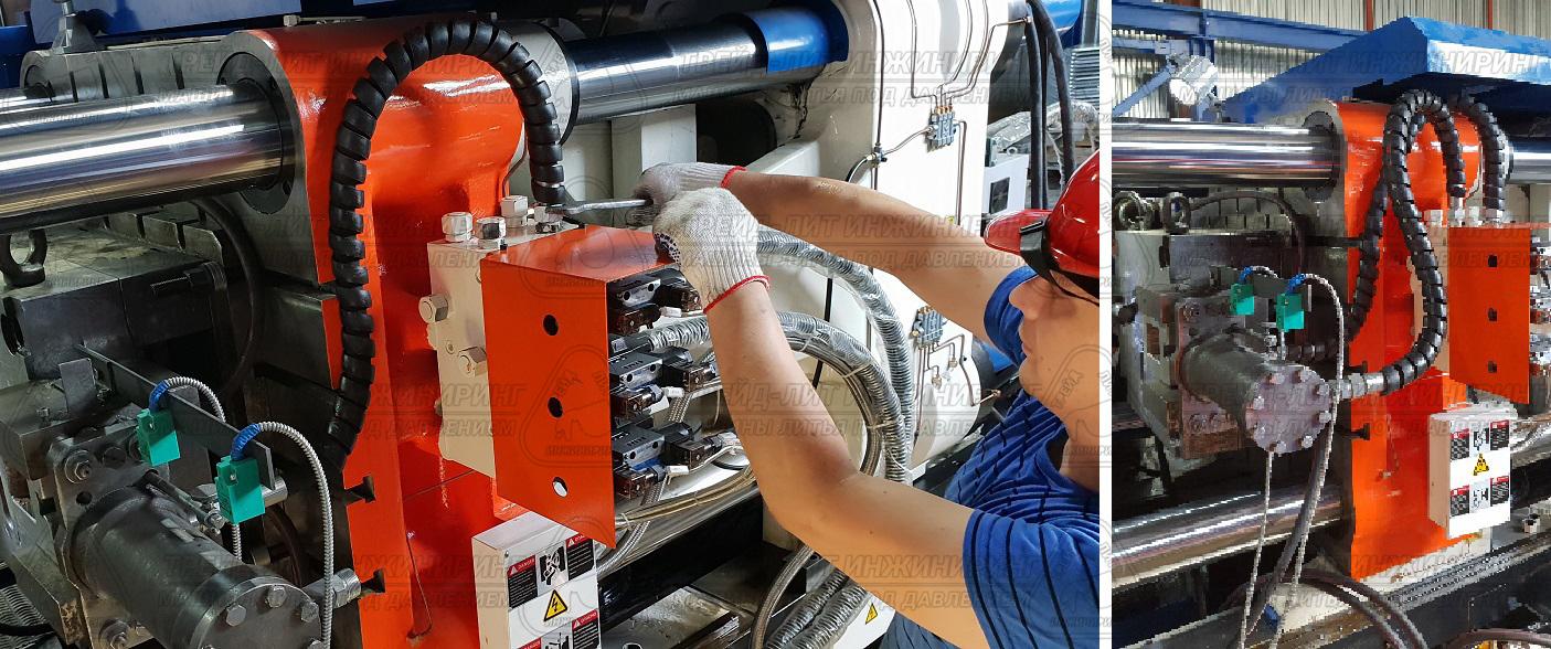 Монтаж рукавов к гидравлической панели управления ползунами пресс-формы на машине MS450 и смонтированные рукава.