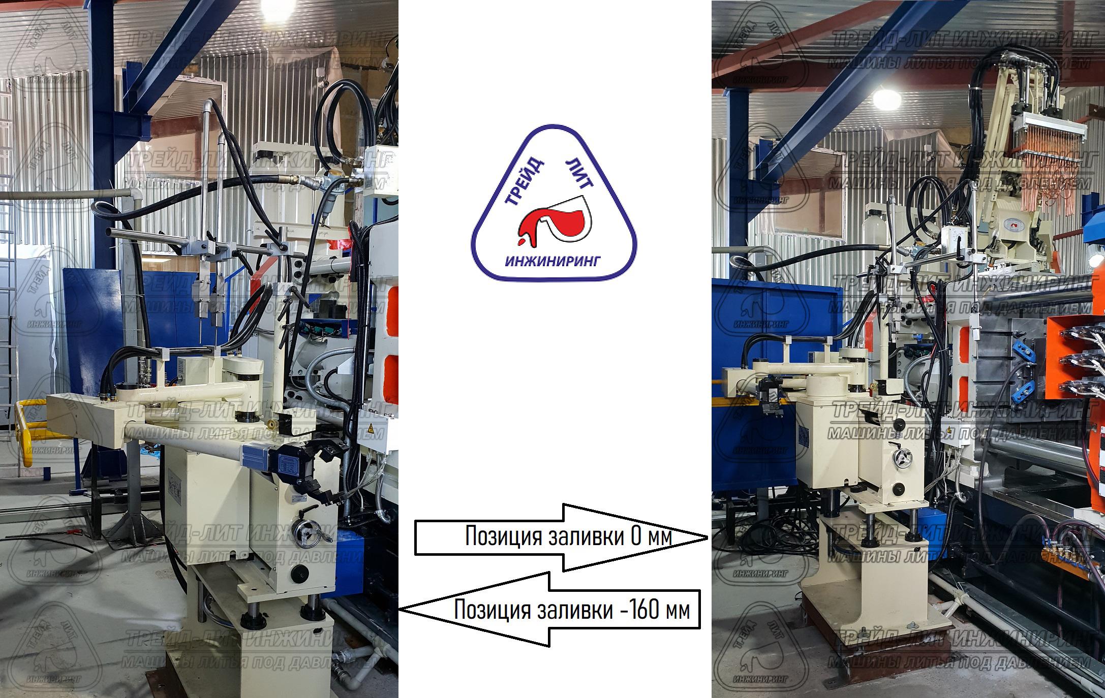 Положения заливки машины литья под давлением MS450 0 мм и -160 мм, с которыми работает манипулятор-съемщик